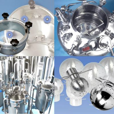 Axium Process supplies tank accessories Including Tank Manways, Spray Balls and tank ferrules