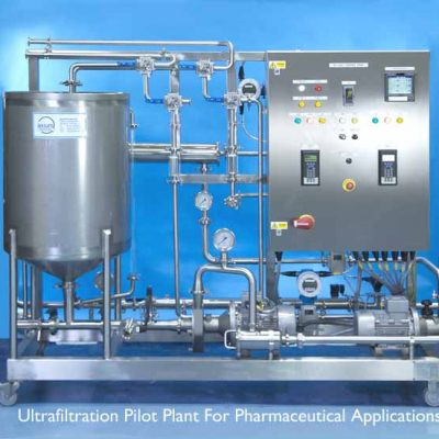 "Ultrafiltration Membrane Pilot Plant For Pharmaceutical Application which can be used for both ""in-process applications"" or for waste stream concentration or purification."