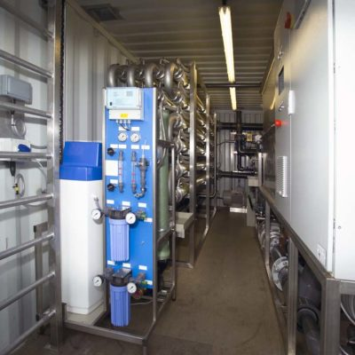 Internal view of  Containerised system used  for the removal of microplastics from our water streams